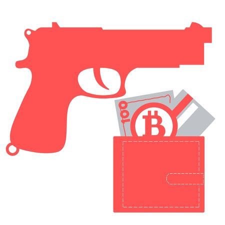 Stylized icon of a colored gun and purse with money bill, credit card, bitcoin on a white