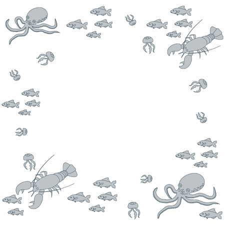 the oceans: Interesting picture with the various inhabitants of the seas and oceans on white background