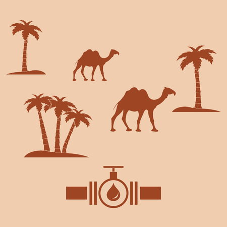 Stylized icon of the pipe with a valve and fuel drops on a color background with palm trees and camels Illustration