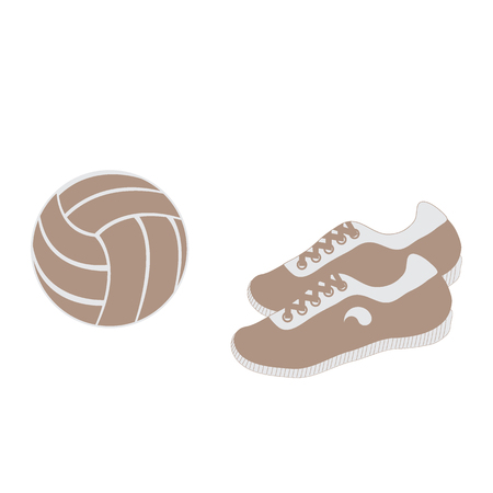 Stylized icon of a colored volleyball and sneakers on a white background
