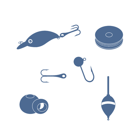 bobber: Colorful set of different tools for fishing on a white background Illustration