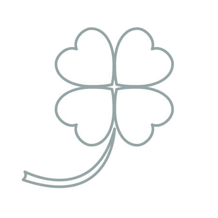 petiole: Stylized icon of a colored silhouette clover leave on a white background Illustration