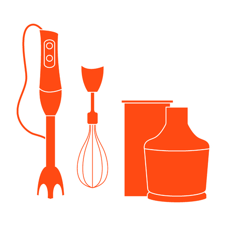 Stylized icon of a colored blender on a white background