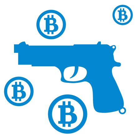transactions: Picture about transactions in bitcoin: bitcoins and gun on a  white background