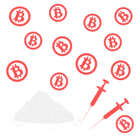 Picture about transactions in bitcoin: bitcoins and drugs on a white background Illustration