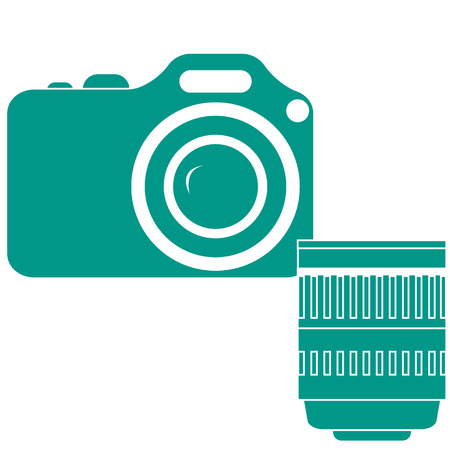 Stylized icon of a colored camera with lens on a white background Illustration