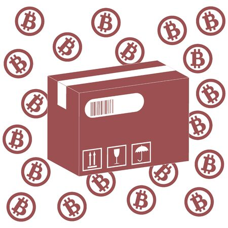 describing: Picture describing the possibilities of using bitcoin as a means of payment: bitcoin and the box with the product on a white background