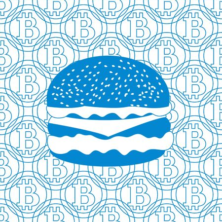 transactions: Picture about transactions in bitcoin:  hamburger on the background of bitcoin Illustration