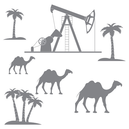 camels: Stylized icon of the equipment for oil production on a color background with palm trees and camels Illustration