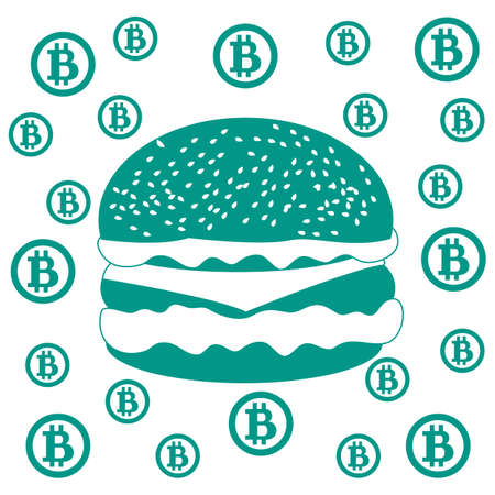 transactions: Picture about transactions in bitcoin:  bitcoins and hamburger on white background