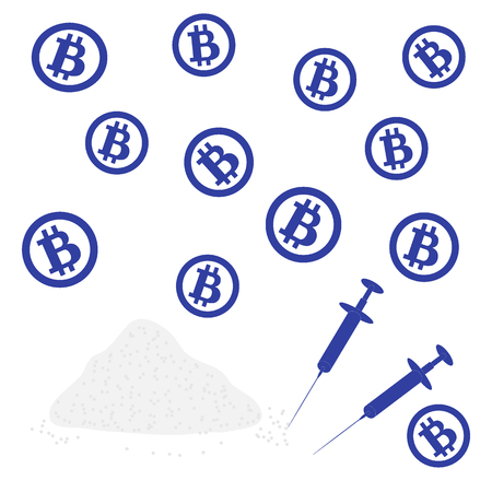 transactions: Picture about transactions in bitcoin: bitcoins and drugs on a white background Illustration
