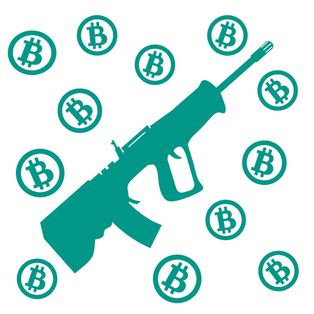 transactions: Picture about transactions in bitcoin: bitcoins and rifle on a white background Illustration