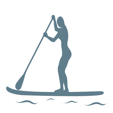 article icon: Vector illustration of stand up paddling female silhouette icon on a white background. Template for your design, article or print. Illustration