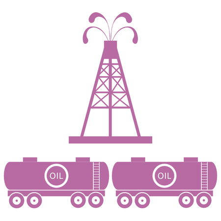 oilfield: Stylized icon of the equipment for oil production and tanks with oil on a white background