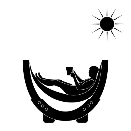 Vector illustration of man resting in a hammock with a book on a white background Illustration