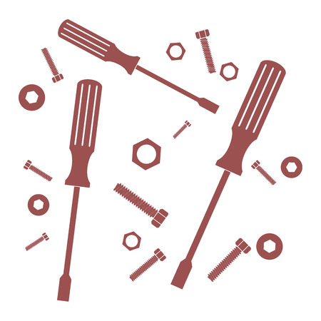 unscrew: Nice picture of a colored tools on a white background
