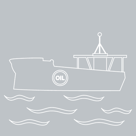 water carrier: Stylized icon of the silhouette tanker of oil floating on waves on a colored background