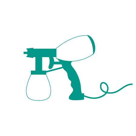 airbrush: Stylized icon of a colored airbrush on a white background