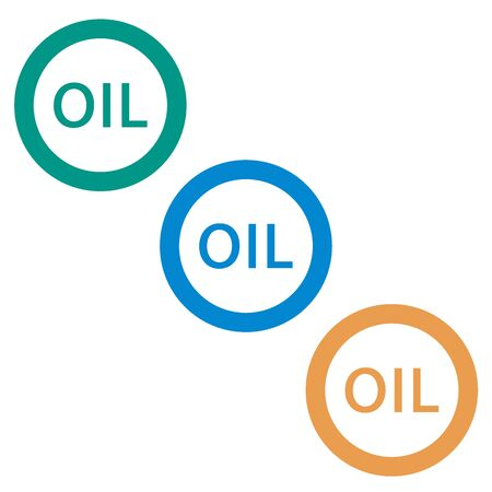 naphtha: Stylized icon of the three inscription oil on a white background Illustration