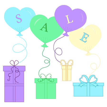Cute picture with presents and gift boxes with balloon and text sale. Design element for postcard, invitation, banner or flyer.