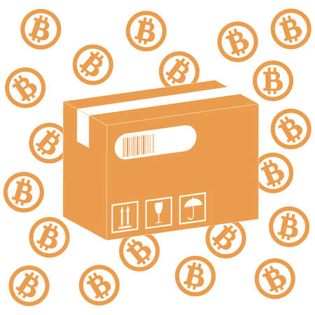 possibilities: Picture describing the possibilities of using bitcoin as a means of payment: bitcoin and the box with the product on a white background