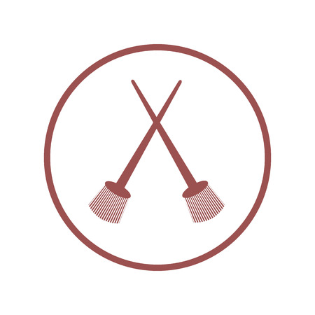 Stylized icon of a two colored crossed paint brushes in a circle on a white background