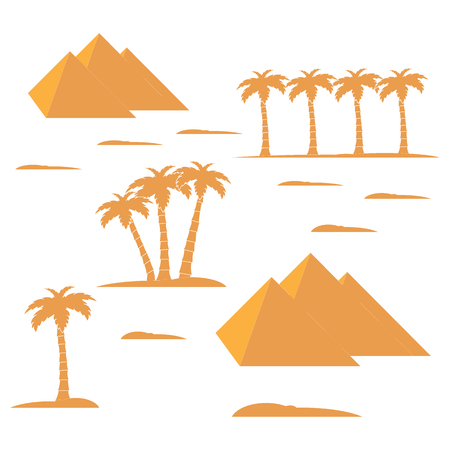 ancient civilization: Nice picture showing love to travel: pyramids and palm trees on a white background Illustration