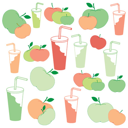 petiole: Nice picture of apples and apple juice rich in vitamin C on a white background Illustration