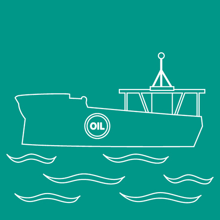 bulk carrier: Stylized icon of the silhouette tanker of oil floating on waves on a colored background