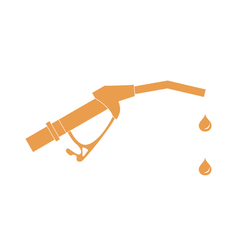 gun control: Stylized icon of the fuel gun with the fuel drops on a white background