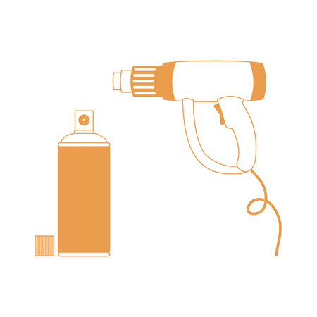 paint gun: Nice picture of  colored heat gun and a can of spray paint on a white background