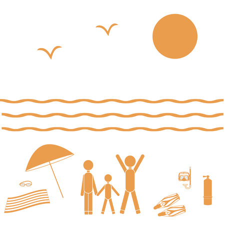 scuba goggles: Nice picture of the family holiday by the sea: sun, waves, seagulls, beach umbrella, diving equipment on a white background