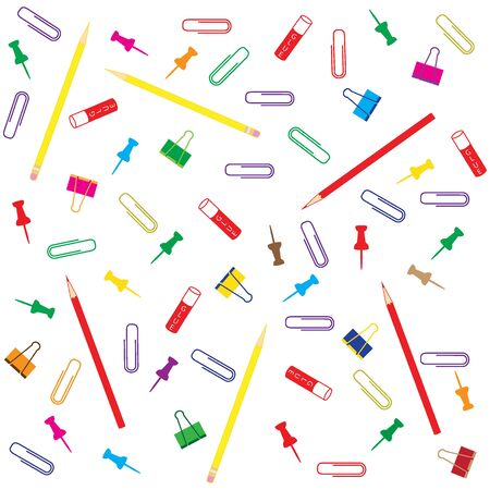 Nice picture of different colored paper clips and buttons, pencil  and glue on white background