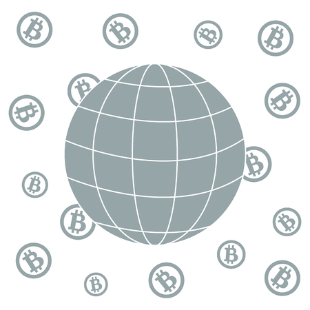 possibility: Image showing the possibility of using bitcoin as a means of payment in the world: bitcoins and globe on white background