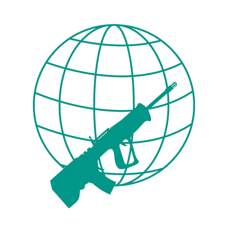 Picture symbolizing the world against weapons: rifle and globe on white background Illustration