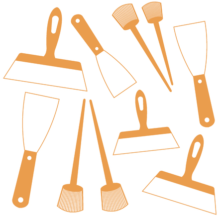 Nice picture of  colored brushes and spatulas on a white background Illustration