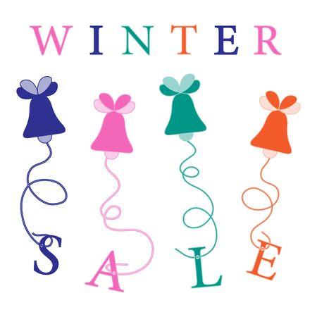 Cute picture with Christmas bells hanging on the ropes with the inscription sale. Design element for postcard, invitation, banner or flyer. Illustration