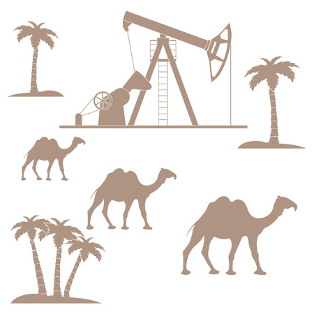 Stylized icon of the equipment for oil production on a color background with palm trees and camels Illustration