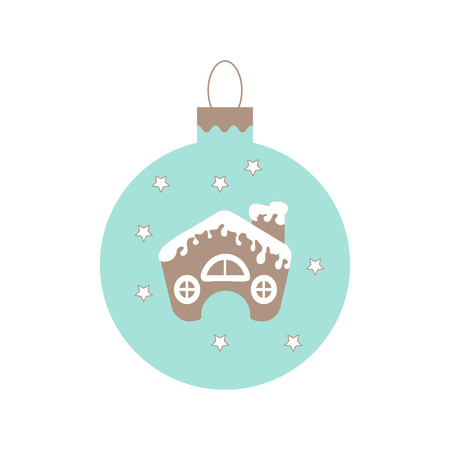 cute house: Cute picture with Christmas ball with stars and cute house in the snow on white background.