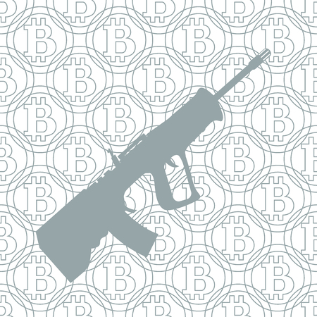 transactions: Picture about transactions in bitcoin: rifle on the background of bitcoin