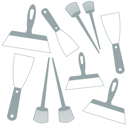 putty knife: Nice picture of  colored brushes and spatulas on a white background Illustration