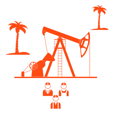 Stylized icon of the equipment for oil production on a light background with palm trees and three silhouette of oil worker