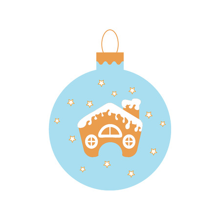 Cute picture with Christmas ball with stars and cute house in the snow on white background.