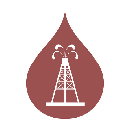 Stylized icon of the oil rig with fountains spurting up oil with oil in the color of fuel drop on a white background