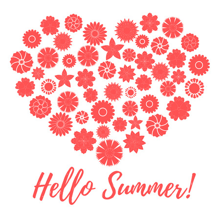 laid: Nice picture of colorful flowers laid out in the shape of a heart and the words: hello summer on a white background
