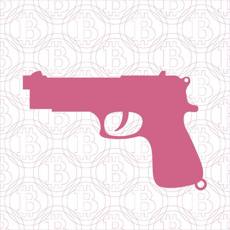 transactions: Picture about transactions in bitcoin: gun on the background of bitcoin Illustration