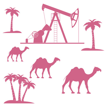 dromedary: Stylized icon of the equipment for oil production on a color background with palm trees and camels Illustration