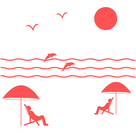 recliner: Nice picture on holiday by the sea: the sun, seagulls, dolphins, waves, people in beach chairs under umbrellas on a white background Illustration