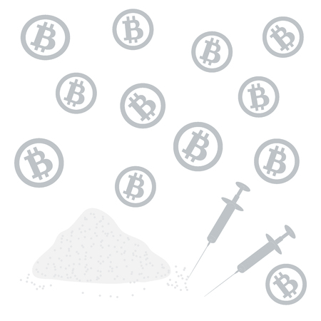 overdose: Picture about transactions in bitcoin: bitcoins and drugs on a white background Illustration