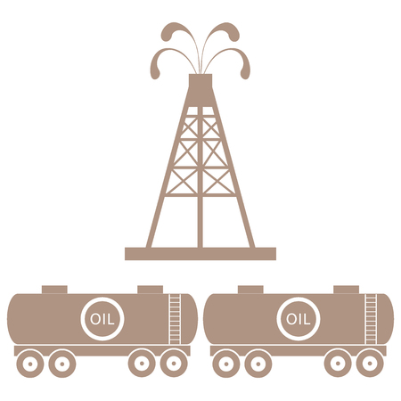 Stylized Icon Of The Equipment For Oil Production And Tanks With